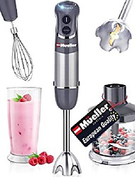 cheap -mueller austria hand mixer, smart stick 800w, 12 speed and turbo mode, 3-in-1, titanium steel blade, comfygrip handle, with whisk, chopper / grinder bowl and beaker / measuring cup