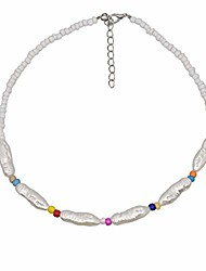 cheap -fashion 1920s pearl chocker faux pearls beads necklace for women girls, fashion imitation vintage costume jewelry (fashion pearl chocker 4-color)