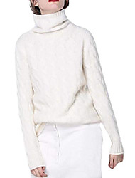 cheap -joe wenko women's cashmere sweater, vintage twist pattern turtleneck long sleeves pullover tops white l