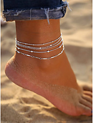 cheap -Anklet Simple Fashion European Women's Body Jewelry For Street Gift Layered Alloy Silver 5 Pieces
