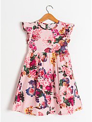 cheap -Kids Little Girls' Dress Floral Flower Loose Causal Print As Picture Midi Short Sleeve Regular Flower Basic Dresses Children's Day Fall Spring & Summer Loose 2-12 Years