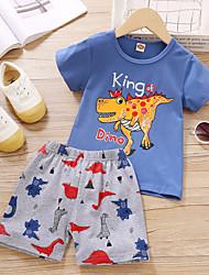 cheap -Kids Boys' Clothing Set Dinosaur Cartoon Short Sleeve Print Daily Wear Blue Basic Above Knee, Mini 2-6 Years