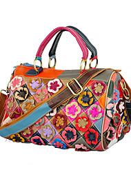 cheap -cross-border new leather handbag, first layer cowhide, ladies portable messenger bag, handmade flower contrast pillow bag
