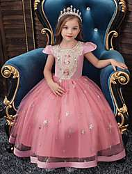 cheap -Princess Floor Length Engagement Party / Formal Evening Flower Girl Dresses - Satin / Tulle / Polyester Cap Sleeve Jewel Neck with Sash / Ribbon / Crystals / Embroidery