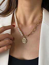 cheap -Women's Pendant Necklace Necklace Drop Teardrop Personalized Simple Fashion Classic Imitation Pearl Alloy Gold 45 cm Necklace Jewelry 1pc For Party Evening Street Gift Birthday Party / Charm Necklace