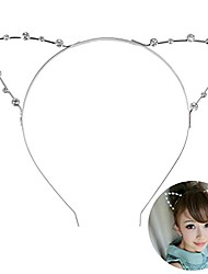 cheap -pixnor crystal shape in cat ears child adult hair bands silver