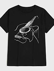 cheap -Men's Tee T shirt Shirt Hot Stamping Graphic Prints Guitar Print Short Sleeve Casual Tops 100% Cotton Basic Designer Big and Tall Round Neck Black / Summer