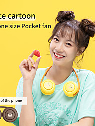 cheap -Cute Cartoon Pocket Fan Leafless Folding Fan Portable Neck-hanging Mini Charging Fan Home Office Sports Mini Fan