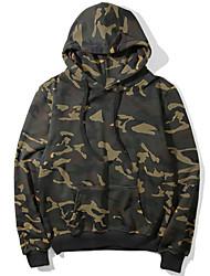 cheap -Men's Hoodie Sweatshirt Hiking Fleece Sweatshirt Outdoor Warm Soft Outdoor Casual Fall Winter Camo Top Polyester Long Sleeve Camping / Hiking Hunting Fishing Camouflage