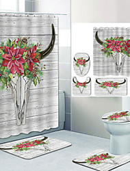 cheap -Little Red Flower Bull Head Digital Printing Four-piece Set Shower Curtains and Hooks Modern Polyester Machine Made Waterproof Bathroom