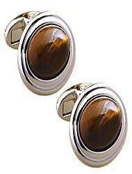 cheap -cufflinks direct natural tiger eye stone inlay oval cuff links