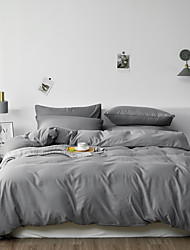 cheap -Bed Sheet Set solid color  Duvet Cover set washed cotton with zipper, natural wrinkled fade resistant and breathable King/Queen/Twin size
