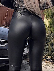 cheap -Women's Simple Classic Style Comfort Work Club Leggings Chinos Pants Plain Ankle-Length Black