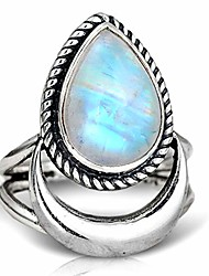 cheap -boho-magic sterling silver moon moonstone ring for women gemstone boho jewelry