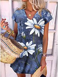 cheap -2021 new printed european and american dress amazon stand-alone denim printed european and american european code v-neck dress
