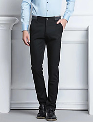 cheap -Men's Chic & Modern Chino Breathable Comfort Business Formal Dress Pants Pants Solid Color Plain Full Length Pocket Black Dark Blue