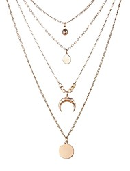 cheap -women's bohemian style moon gold silver multi-layer pendant necklace jewelry