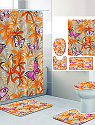 cheap -Beautiful Butterfly Digital Printing Four-piece Set Shower Curtains and Hooks Modern Polyester Machine Made Waterproof Bathroom