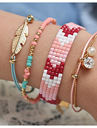 cheap -Women's Bead Bracelet Beads Leaf Boho Alloy Bracelet Jewelry Picture color For Date Festival