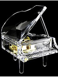 cheap -Music Box Transparent Acrylic Piano 1 pcs Gift Home Decor Plastic For Kid's Adults' Boys and Girls