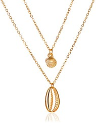 cheap -Women's Pendant Necklace Chain Necklace Double Layered Shell Personalized Simple Fashion Classic Alloy Gold 45 cm Necklace Jewelry 1pc For Party Evening Street Gift Birthday Party / Layered Necklace