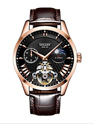 cheap -DOM Men's Mechanical Watch Analog Automatic self-winding Stylish Dual Time Zones Moon Phase / Genuine Leather