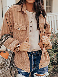 cheap -cross-border autumn and winter amazon women's jacket ins independent station hot selling cardigan corduroy european and american jacket women's autumn and winter