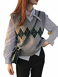 cheap -sllsky argyle spliced sweater vest women v-neck casual vintage pullover knitted sweater soft loose sleeveless tops, gray m