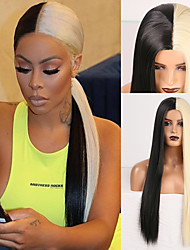 cheap -halloweencostumes Cosplay Costume Wig Synthetic Wig Natural Straight Middle Part Wig 24 inch Black / Gold Synthetic Hair Women's Odor Free Fashionable Design Soft Black / Blonde