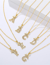 cheap -letter necklace fashion zircon crown english letter pendant simple fashion ladies necklace