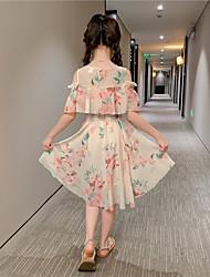 cheap -girls' dresses, summer new styles, children's girls, korean chiffon floral long skirts, big children's western style girls' skirts