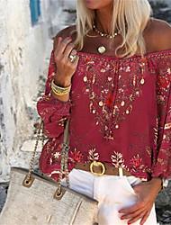 cheap -Women's Blouse Floral Graphic Leaf Print Off Shoulder Tops Elegant Basic Top Blue Purple Red