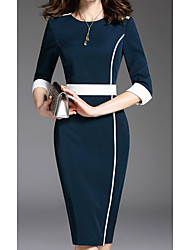 cheap -Women's Sheath Dress Knee Length Dress Blue Half Sleeve Solid Color Print Spring Summer Round Neck Work Formal 2021 S M L XL XXL 3XL 4XL 5XL 6XL