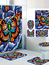 cheap -Dragonfly Body Butterfly Wings Digital Printing Four-piece Set Shower Curtains and Hooks Modern Polyester Machine Made Waterproof Bathroom