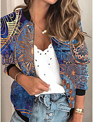 cheap -Women's Jackets 3D Print Print Sporty Spring &  Fall Jacket Regular Daily Long Sleeve Air Layer Fabric Coat Tops Blue