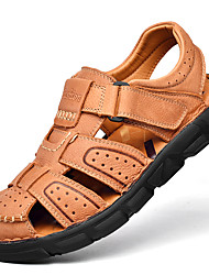 cheap -Men's Sandals Crochet Leather Shoes Flat Sandals Casual Beach Roman Shoes Daily Outdoor Nappa Leather Cowhide Breathable Handmade Non-slipping Booties / Ankle Boots Light Brown Dark Brown Black