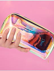 cheap -Waterproof Pu Laser PINK Cosmetic Bag Female Portable Multi-Function Storage Bag Handbag Make Up Bag