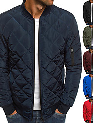 cheap -Men's Bomber Quilted Jacket Diamond Padded Jacket Winter Outdoor Chunky Varsity Flight Windproof Warm Trench Coat Top Quilted Seams Cotton Outwear Overcoat Full Zipper Camping Hiking Hunting Fishing