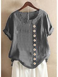 cheap -Women's Plus Size Tops Blouse Shirt Floral Graphic British Cotton Linen Button Short Sleeve Round Neck Spring Summer Blue Red Green Big Size L XL XXL XXXL 4XL