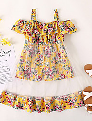 cheap -Kids Little Girls' Dress Rose Flower Causal Holiday Ruffle Lace Trims Print Yellow Knee-length Sleeveless Flower Cute Dresses Children's Day Summer Regular Fit 3-6 Years