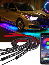 cheap -OTOLAMPARA 4pcs 100W Car Underglow Light Flexible Strip LED Underbody Lights Remote /APP Control Car Led Neon Light RGB Decorative Atmosphere Lamp