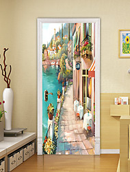 cheap -2pcs Self-adhesive Creative Door Stickers Oil Painting Landscape Living Room Diy Decoration Home Waterproof Wall Stickers