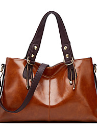 cheap -women faux leather retro lychee pattern large capacity handbag shoulder bag crossbody bag tote