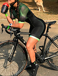 cheap -Women's Men's Short Sleeve Triathlon Tri Suit Summer Black Bike Quick Dry Breathable Sports Lines / Waves Mountain Bike MTB Road Bike Cycling Clothing Apparel / Stretchy / Athletic