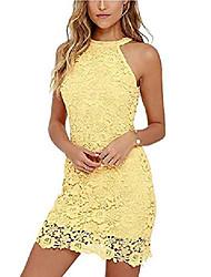 cheap -Women's A Line Dress Knee Length Dress White Yellow Wine Dark Blue Sleeveless Solid Color Spring Summer Casual / Daily 2021 S M L XL XXL XXXL