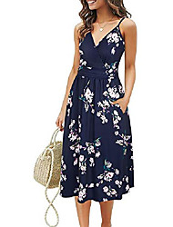 cheap -gootuch women's v neck dresses adjustable spaghetti strap floral casual beach party swing dress with pockets(floral 02,l)