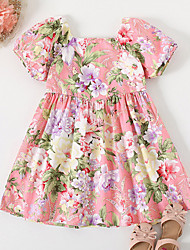 cheap -Kids Little Girls' Dress Floral Causal Festival Print Blushing Pink Knee-length Short Sleeve Princess Dresses Children's Day Summer Regular Fit 2-6 Years