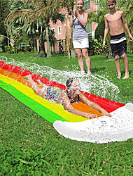 cheap -14 FT Lawn Water Slides, Rainbow Slip Slide Play Center with Splash Sprinkler and Inflatable Crash Pad for Kids Children Summer Backyard Swimming Pool Games Outdoor Water Toys