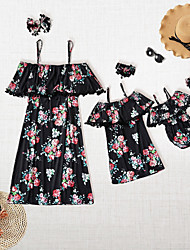 cheap -Mommy and Me Family Matching Outfits Dress Sundress Daily Wear Floral Sleeveless Print Black Maxi Summer