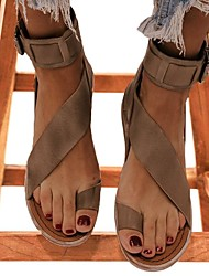 cheap -Women's Sandals Boho Bohemia Beach Bunion Sandals Flat Heel Open Toe Flat Sandals Daily PU Black Khaki Coffee